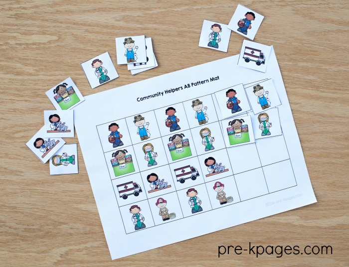 Community Helper Printable Patterning Activity for Preschoolers