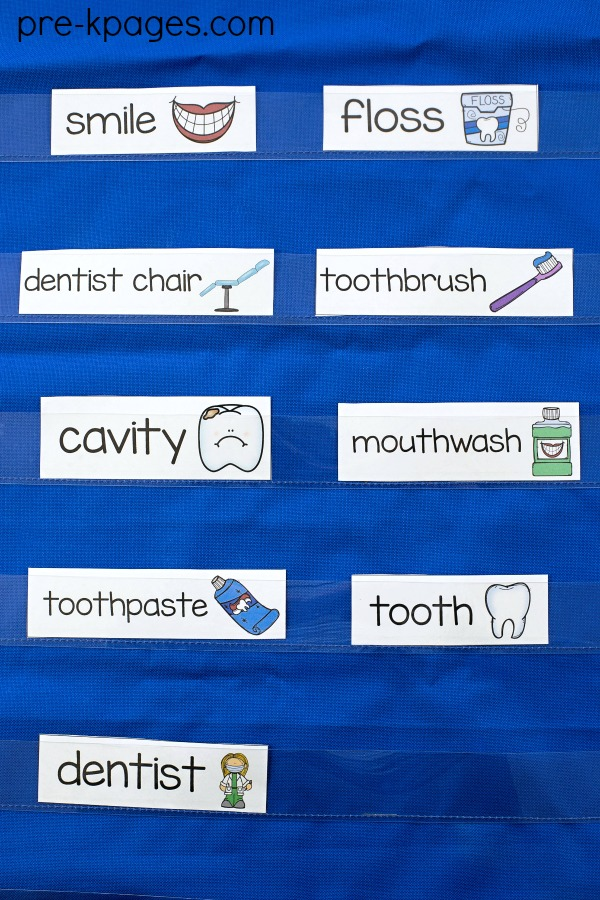 Dental Health Word Wall Vocabulary Cards