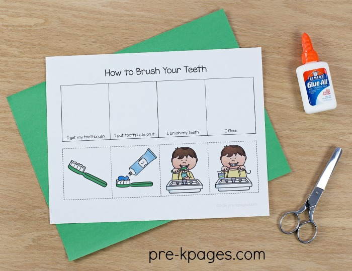 How to Brush Your Teeth Sequence Activity for Preschool