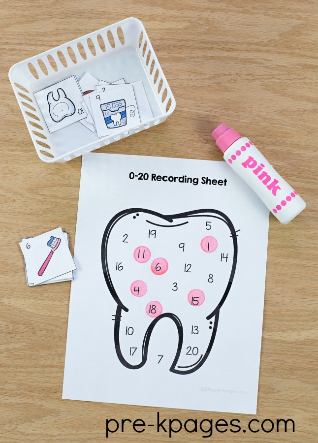 Printable Dental Health Number Game for Preschool