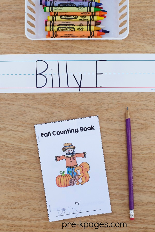 Printable Fall Counting Book for Preschool and Kindergarten