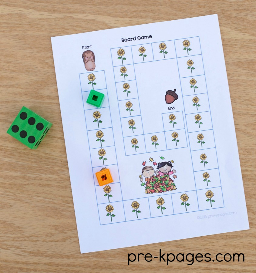 Printable Fall Theme Board Game for Preschoolers