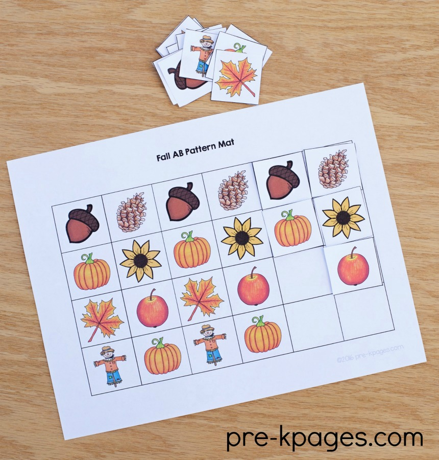 Printable Fall Patterning Mats for Preschool and Kindergarten