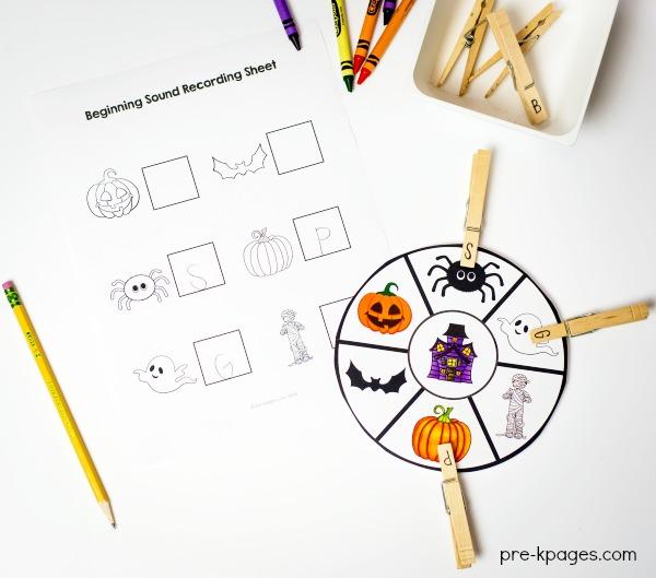 Printable Halloween Beginning Sounds Game for Preschool and Kindergarten