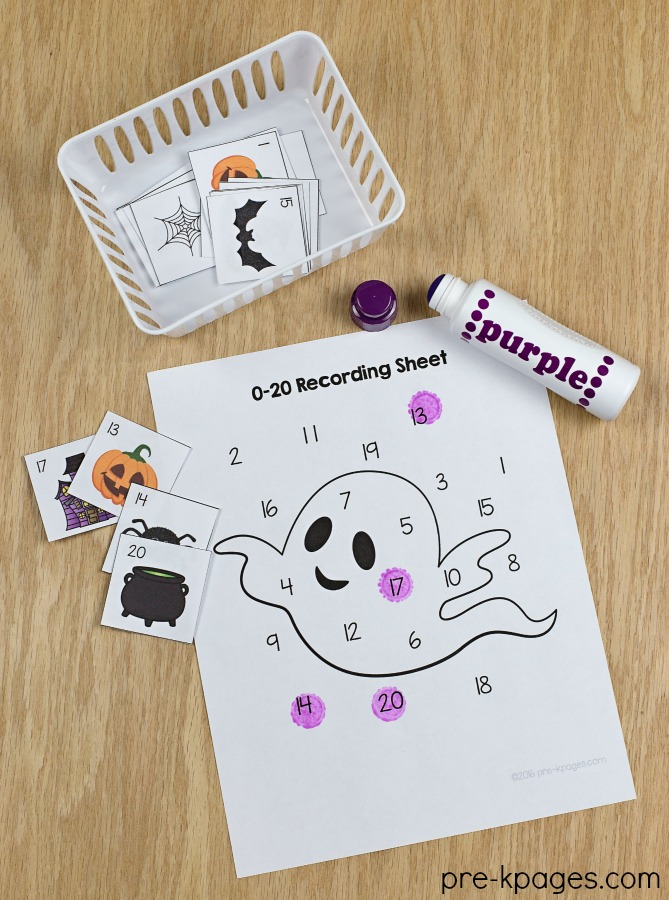 Printable Halloween Number Game for Preschool