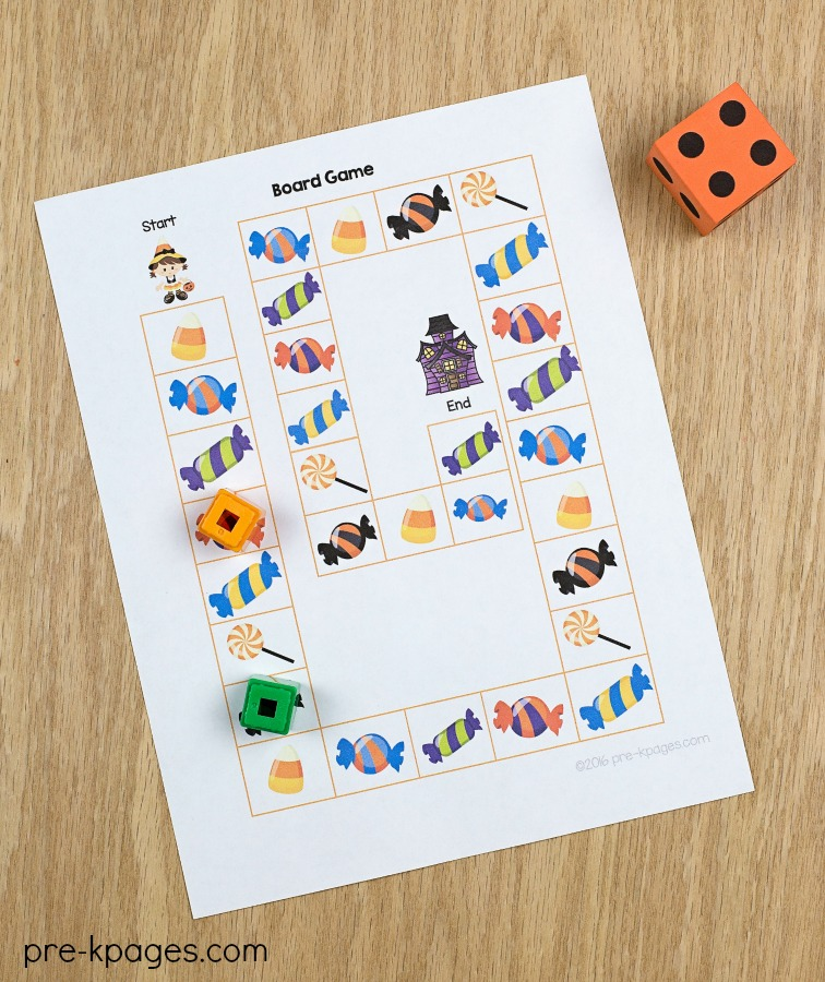 Printable Halloween Board Game for Preschoolers