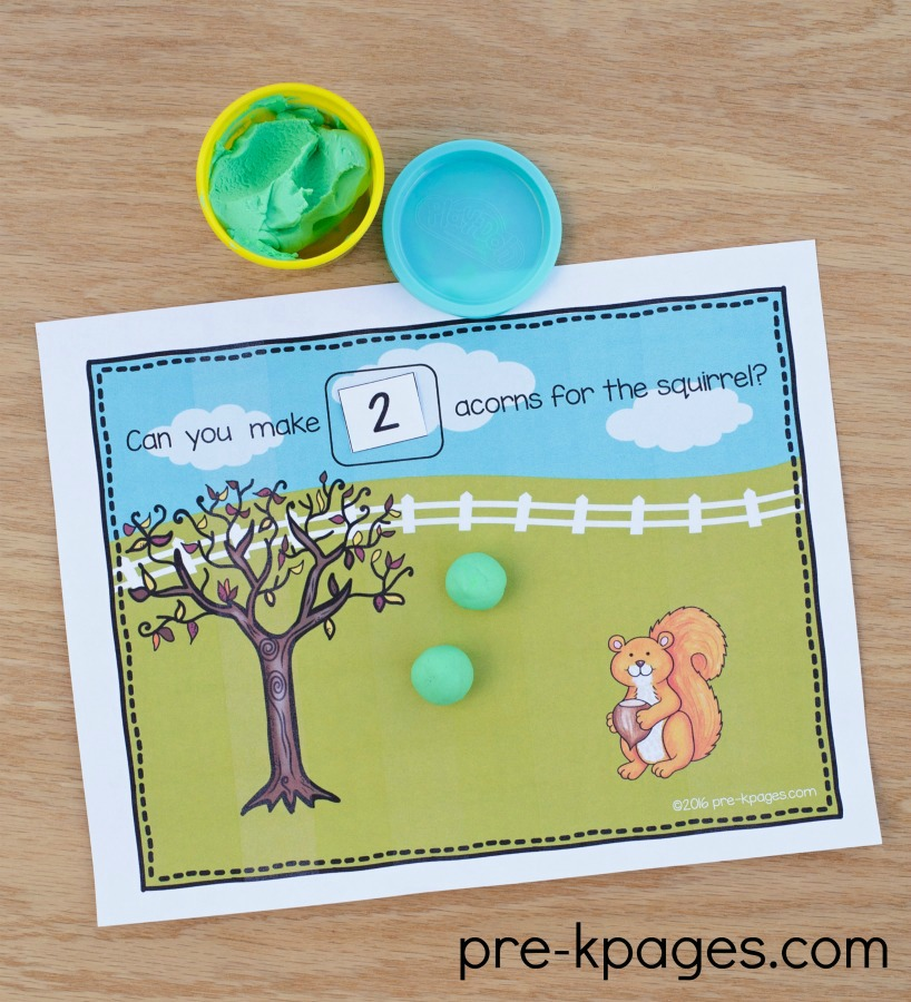 Squirrel Theme Playdough Counting Mats for Preschool