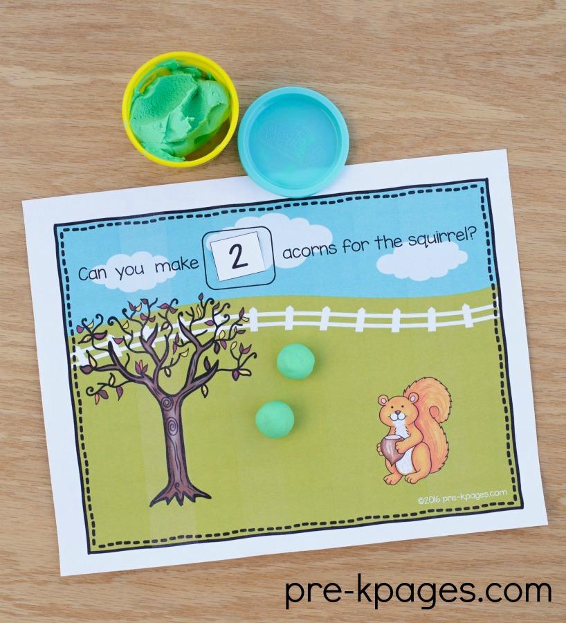 Squirrel Theme Playdough Counting Mats for Preschool