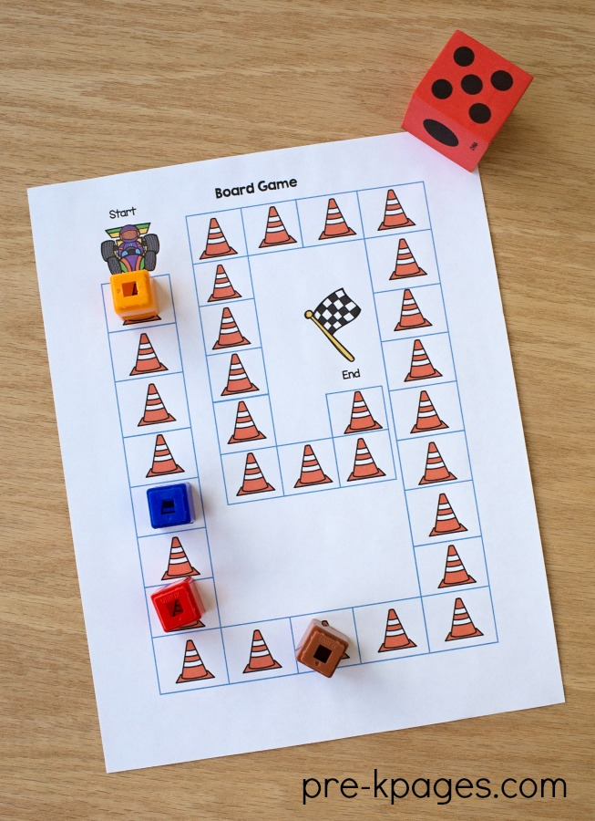 Printable Transportation Board Game for Preschool and Kindergarten