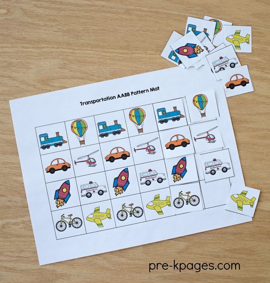 Printable Transportation Pattern Activity