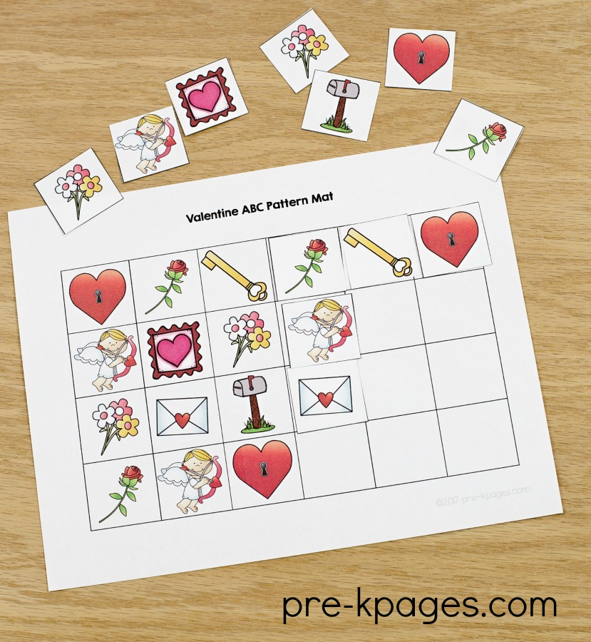 Printable Valentine Patterning Activity for Preschool