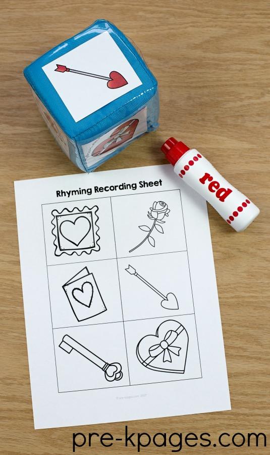 Printable Valentine Rhyming Activity