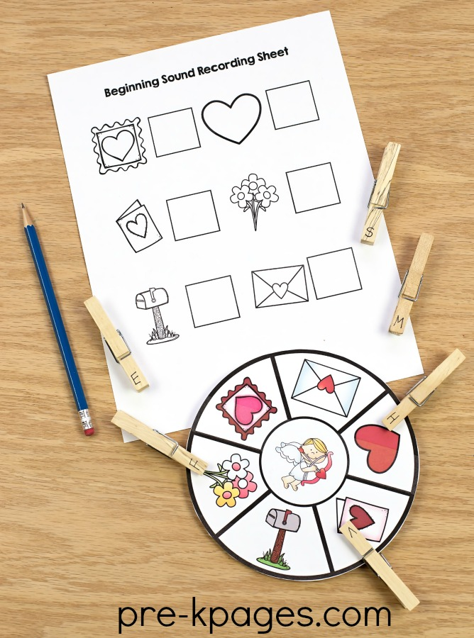 Printable Valentines Day Beginning Sounds Activity