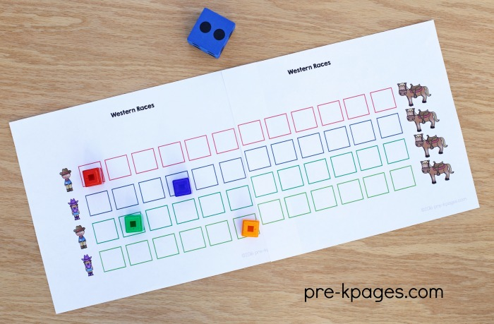 Printable Western Theme Counting Game for Preschool