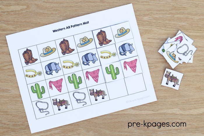 Printable Western Theme Pattern Activity for Preschool