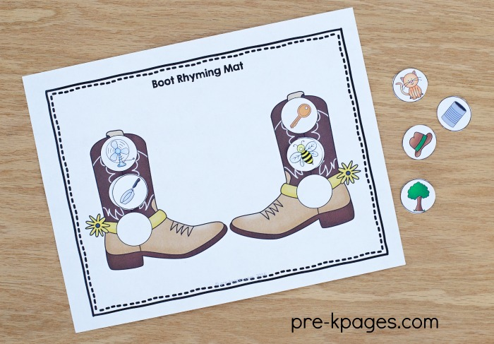 Printable Western Theme Rhyming Activity