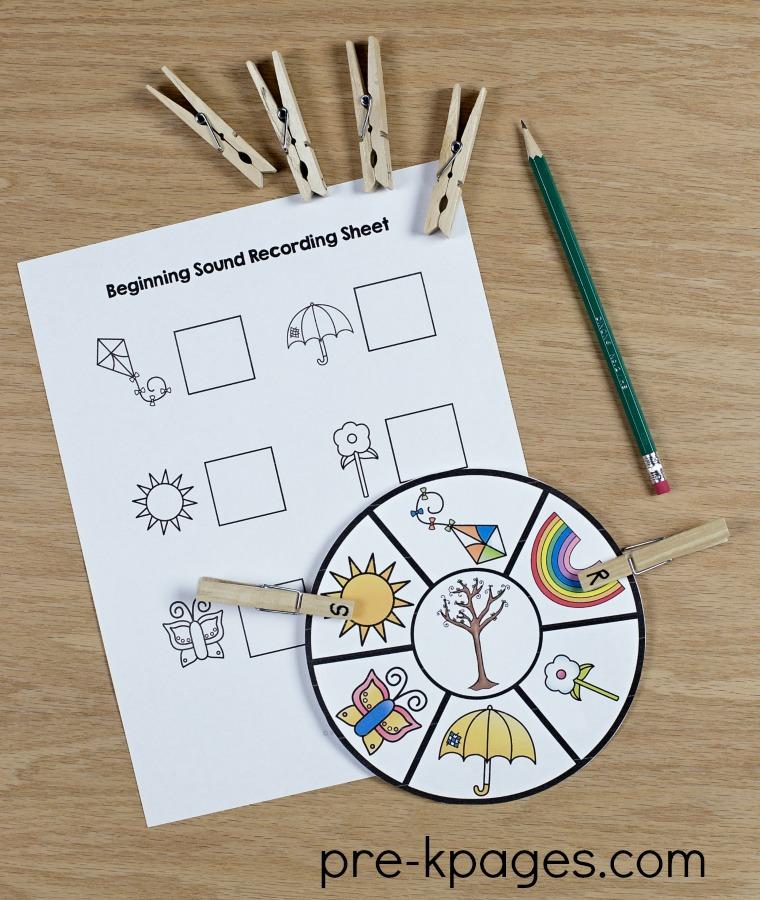 Spring Beginning Sound Activity for Preschool