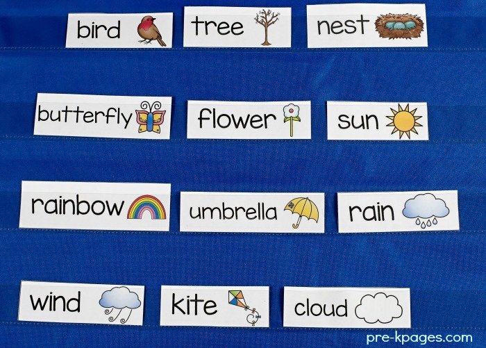 Spring Vocabulary Picture Cards