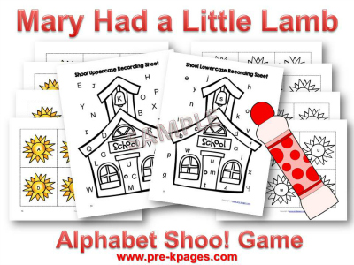 Mary Had a Little Lamb Alphabet Game for Preschool
