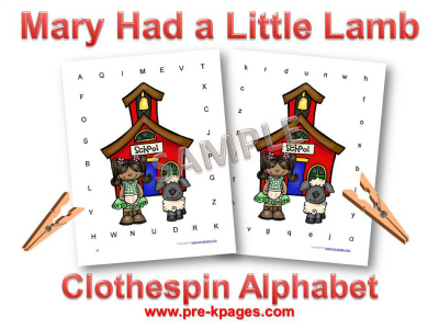 Mary Had a Little Lamb Alphabet Identification Activity