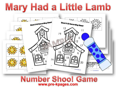 printable mary had a little lamb number identification game for preschool