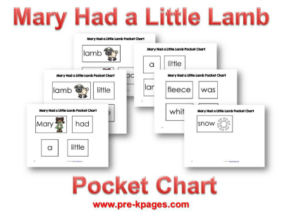 Mary Had a Little Lamb Printable Pocket Chart