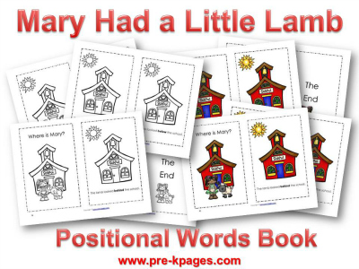 Printable Mary Had a Little Lamb Book for Preschoolers