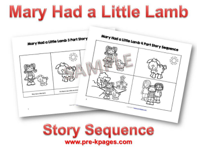PreK Pages Nursery Rhymes Mary Had a Little Lamb