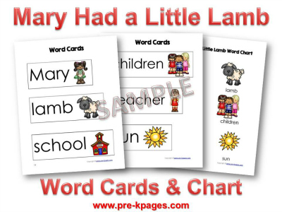 Mary Had a Little Lamb Printable Word Cards
