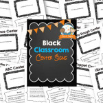 Printable Black Classroom Center Signs