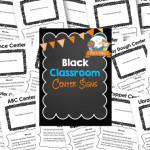 Printable Black Classroom Center Signs