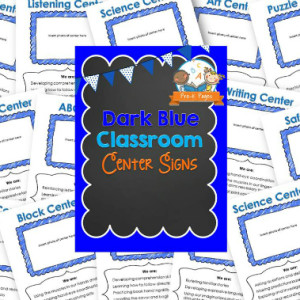 Classroom Center Signs – Dark Blue