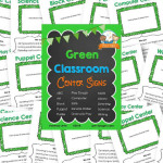 Printable Green Classroom Center Signs