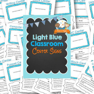 Classroom Center Signs – Light Blue