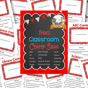 Classroom Center Signs – Red