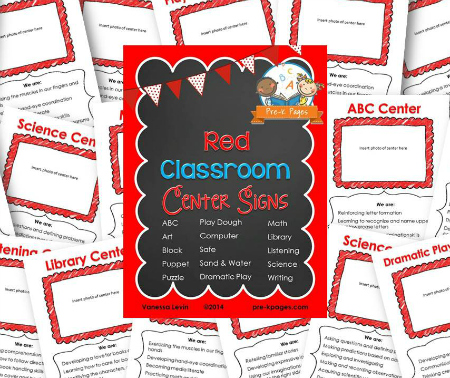 Printable Red Classroom Center Signs