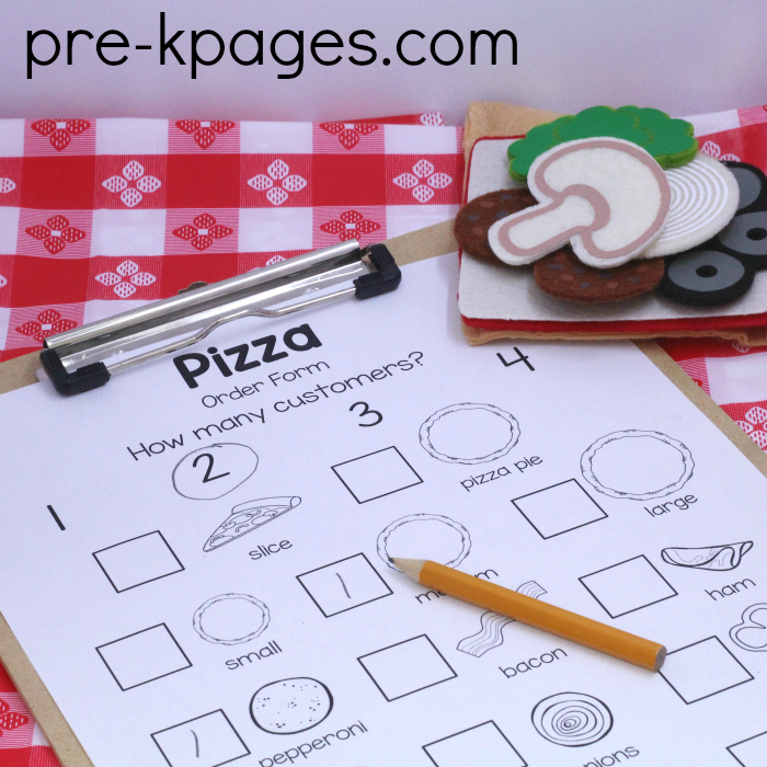 Pizza restaurant dramatic play center for Pizza order form template