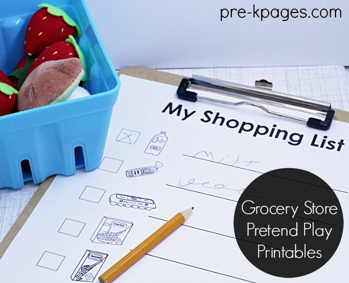 Pretend Play Printable Shopping List
