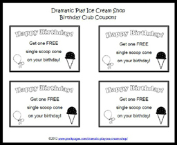 Free Printable Dramatic Play Ice Cream Coupons