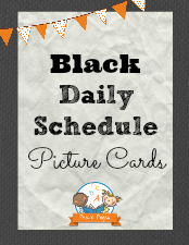 Black Daily Schedule Picture Cards for Preschool and Kindergarten