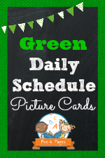 Green Daily Schedule Picture Cards for Preschool and Kindergarten