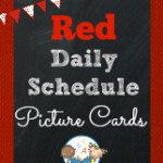 Red Daily Schedule Picture Cards for Preschool and Kindergarten