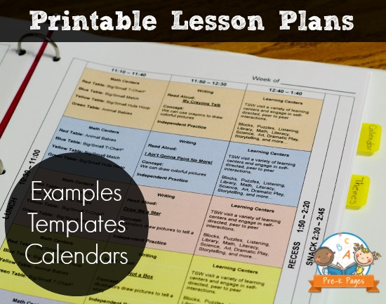 Printable Lesson Plans For Preschool PreK And Kindergarten - Free kindergarten lesson plan template