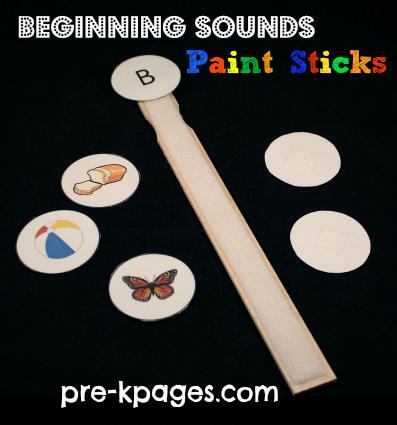 Paint Stick Beginning Sounds Activity