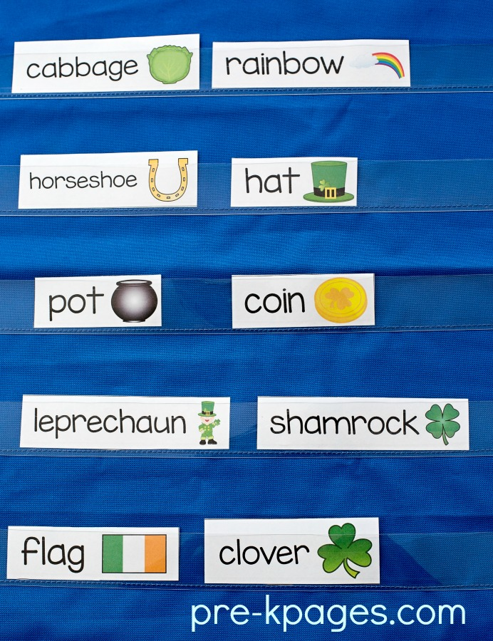 St Patricks Day Printable Vocabulary Word Cards