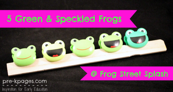 5 Green and Speckled Frogs at Splash
