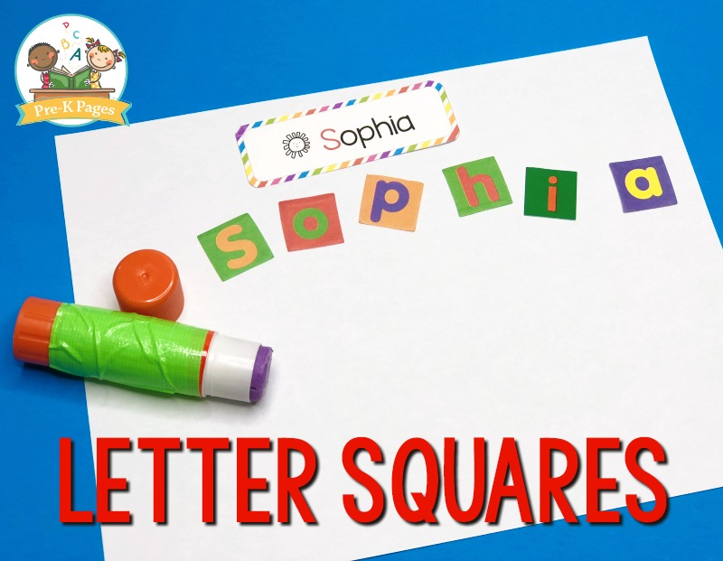 Making Names with Letter Squares in Preschool