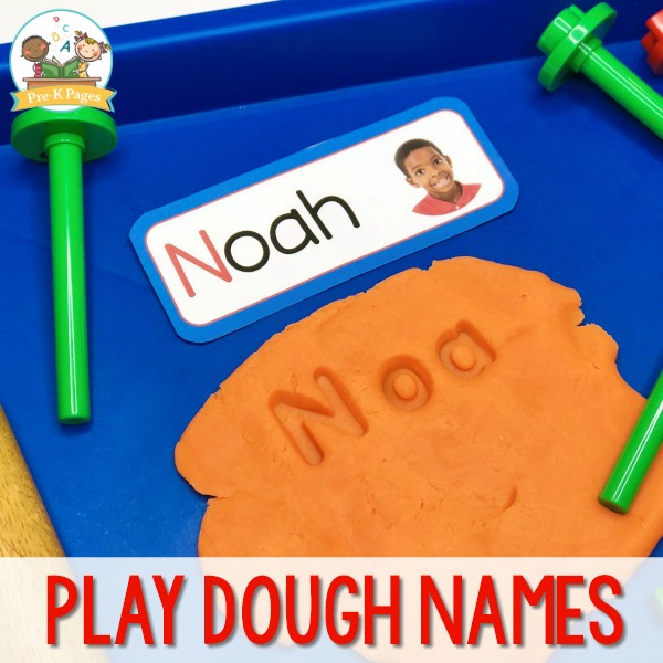 Name Stamping Playdough Activity