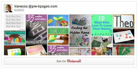 Learning Names Pinterest Board
