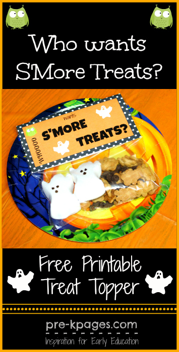 Free Printable Halloween S'mores Treat Bag Topper